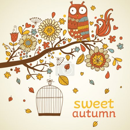 Illustration for Sweet autumn concept card in vector. Birds on branch with stilysh birdcage. Bright floral background - Royalty Free Image