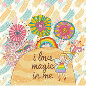 Cute vector background with magic flowers and small fairy