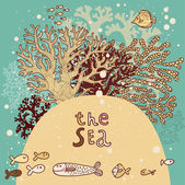 Vintage vector background with corals and fishes