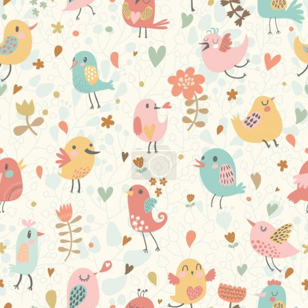 Cute seamless pattern with small birds and flowers.