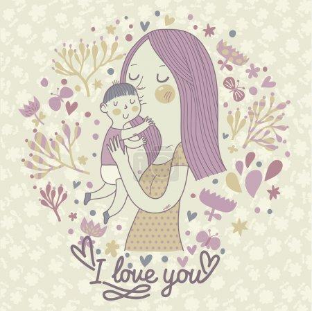 Illustration pour Les mères aiment. Carte vectorielle rétro douce avec mère et enfant. Joyeuse fête des mères. Vintage fond floral avec femme et bébé . - image libre de droit