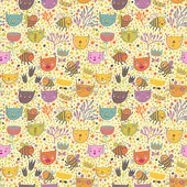 Pattern with flowers cats bees in vector