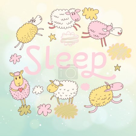 Illustration for Funny sheep on clouds in vector card. Cartoon childish background. Sleeping concept illustration - Royalty Free Image
