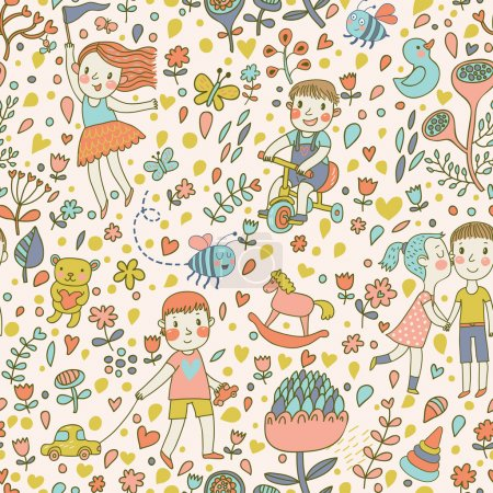 Cute seamless pattern with children in the garden.