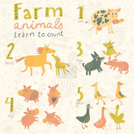 Illustration for Farm animals. Learn to count part one. 1 cow, 2 horses, 3 dogs, 4 pigs, 5 geese. Funny cartoon childish illustrations in vector. Easy to learn figures with fun - Royalty Free Image
