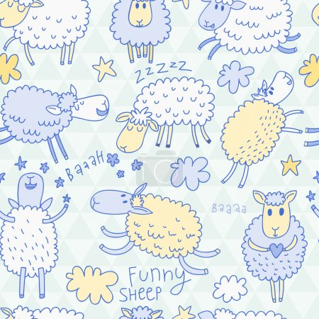 Illustration for Funny cartoon sheep in the sky. childish background in vector. Seamless pattern can be used for wallpapers, pattern fills, web page backgrounds,surface textures. - Royalty Free Image