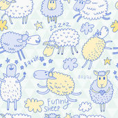 Funny cartoon sheep in the sky