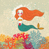 Cute card with mermaid in love