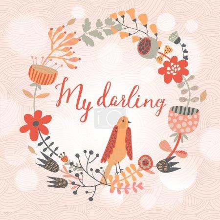 Illustration pour Ma chérie, je t'aime tellement. Belle carte romantique en vecteur. Oiseaux de bande dessinée sur le cœur faits de feuilles et de fleurs - image libre de droit