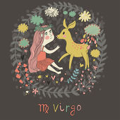 Cute zodiac sign - Virgo Vector illustration Little beautiful girl with long hair playing with lovely fawn with in the clouds and flowers Doodle hand-drawn style in dark colors