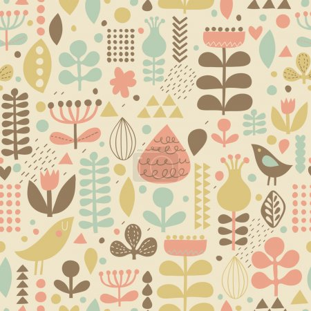 Gentle floral background with cute birds in vector.