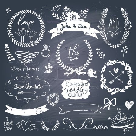 Wedding romantic collection with labels