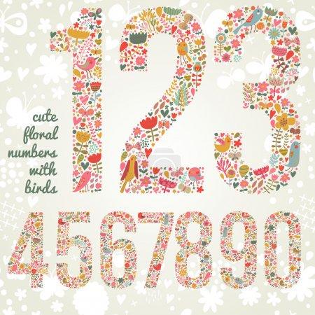 Illustration pour Mignons nombres floraux avec des oiseaux. Nombres de fleurs et d'oiseaux aux couleurs vives. Zéro, un, deux, trois, quatre, cinq, six, sept, huit, neuf signes dans le vecteur - image libre de droit