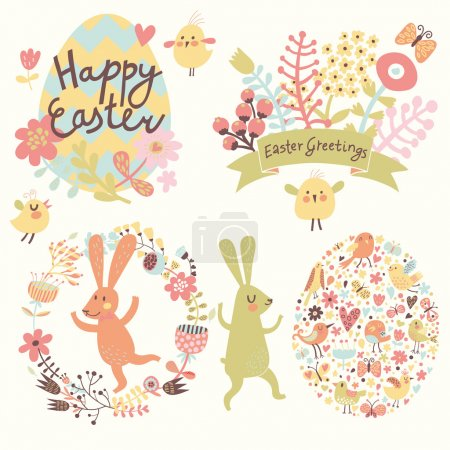 Easter holiday set in vector.