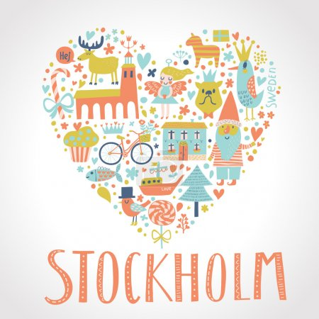 Stockholm concept card in vector.
