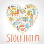 Stockholm concept card in vector