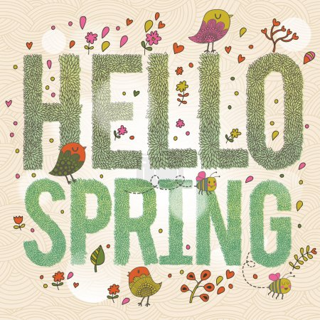 Illustration for Hello Spring. Bright spring concept card with text made of leafs, birds, flowers and bees. Stylish illustration in vector - Royalty Free Image