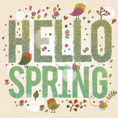 Hello Spring Bright spring concept card with text made of leafs birds flowers and bees Stylish illustration in vector