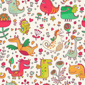 Bright fantastic background with flowers and cute dragons Seamless pattern can be used for wallpapers pattern fills web page backgroundssurface textures