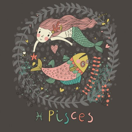 Illustration for Cute zodiac sign - Pisces. Vector illustration. Little mermaid swimming with big fish with flowers and water plants. Doodle hand-drawn style in dark colors - Royalty Free Image