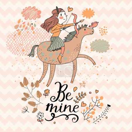 Illustration pour Petite fille chevauchant sur cheval rose avec arc. Signe du zodiaque mignon Sagittaire. Illustration vectorielle . - image libre de droit