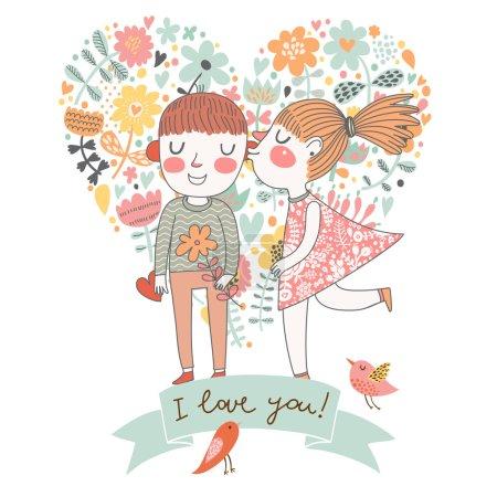 I love you! Cute cartoon romantic card