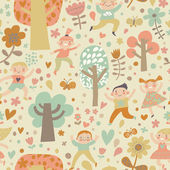 Children playing in forest in flowers hearts and butterflies