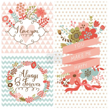 Illustration for Vintage spring set. Stylish floral cards with labels, ribbons, hearts, flowers. Save the date invitations in vector - Royalty Free Image