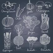 """Постер, картина, фотообои """"вкусные овощи в векторный набор"""""""