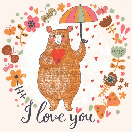 Illustration pour Concept carte romantique avec ours mignon et la pluie faite de cœurs en fleurs. Carte d'invitation lumineuse en vecteur - image libre de droit
