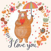 Concept romantic card with cute bear and the rain