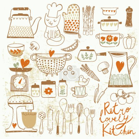 Vintage kitchen set in vector.