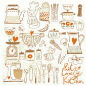 Vintage kitchen set in vector Stylish design elements: pepper-box fork spoon bowl pan mixer scales colander knife and others