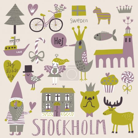 Stockholm concept set in vector.