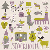 Stockholm concept set in vector Cute stylish scandinavian set with house church gnome birds moose bicycle horse and other Stockholm symbols in bright colors
