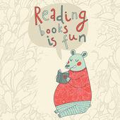 Reading books is fun - cartoon stylish card
