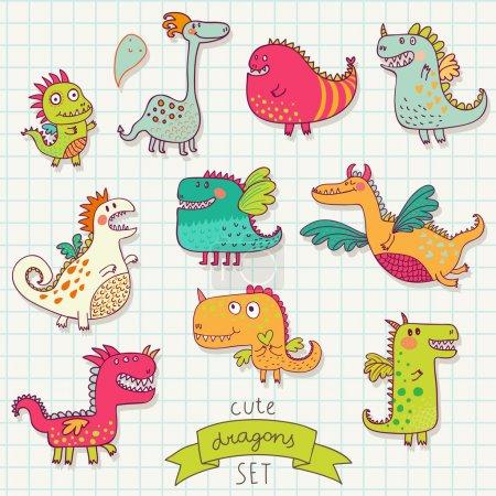 Funny cartoon dragon set in vector.