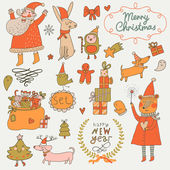 Stylish New Year and Christmas set in vector Cute Santa Claus Snowman fir tree gifts dogs bear toys penguin rabbit and other holiday elements in bright colors