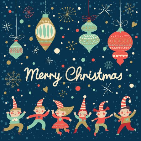 Vintage Merry Christmas card in vector.