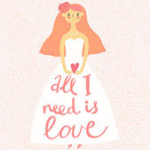 Beautiful cartoon bride in vector with heart in hands