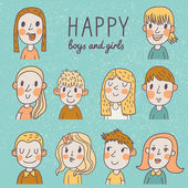 Happy boys and girls in vector set 10 different cartoon faces in funny style
