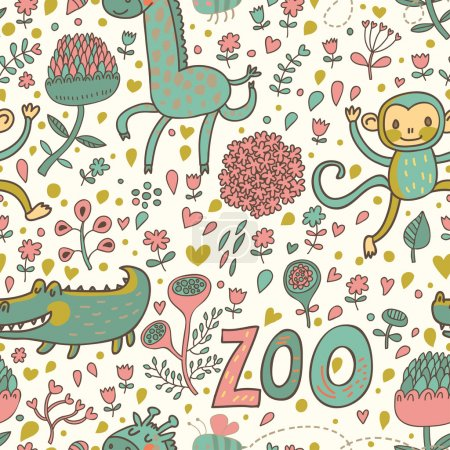 Bright funny animals: crocodile, monkey, giraffe in flowers.