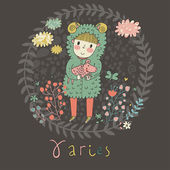 Cute zodiac sign - Aries Vector illustration Little boy riding with small ram Background with flowers and clouds Doodle hand-drawn style in dark colors
