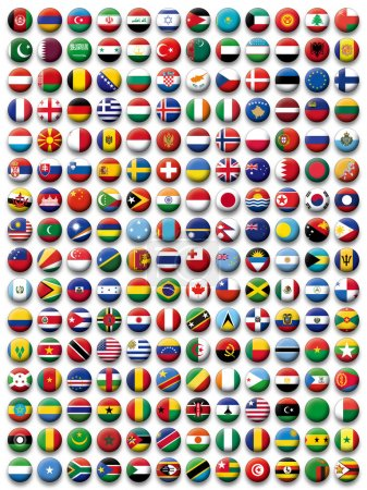 Vector Set of buttons flags of the World