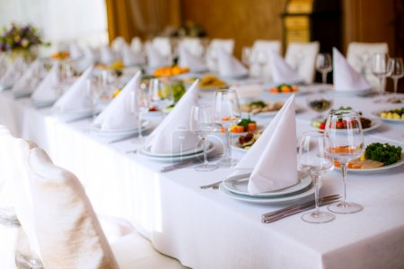 Photo for Wedding table for dining or another catered event - Royalty Free Image
