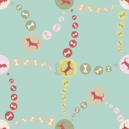 Illustration for Vector seamless background with puppies. - Royalty Free Image