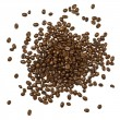Shot from above handful pile of the roasted coffee beans isolated over white background