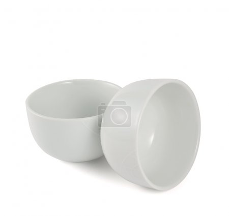 Photo for Two ceramic piola bowl composition isolated over white background - Royalty Free Image