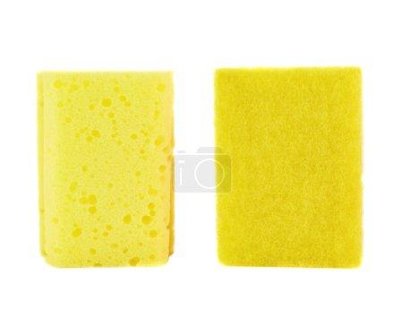 Photo pour Cuisine éponge jaune vue de face avant et arrière isolé sur fond blanc - image libre de droit
