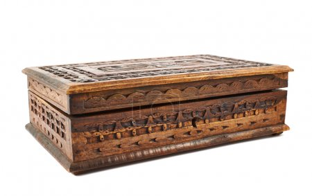 Wooden carved casket isolated